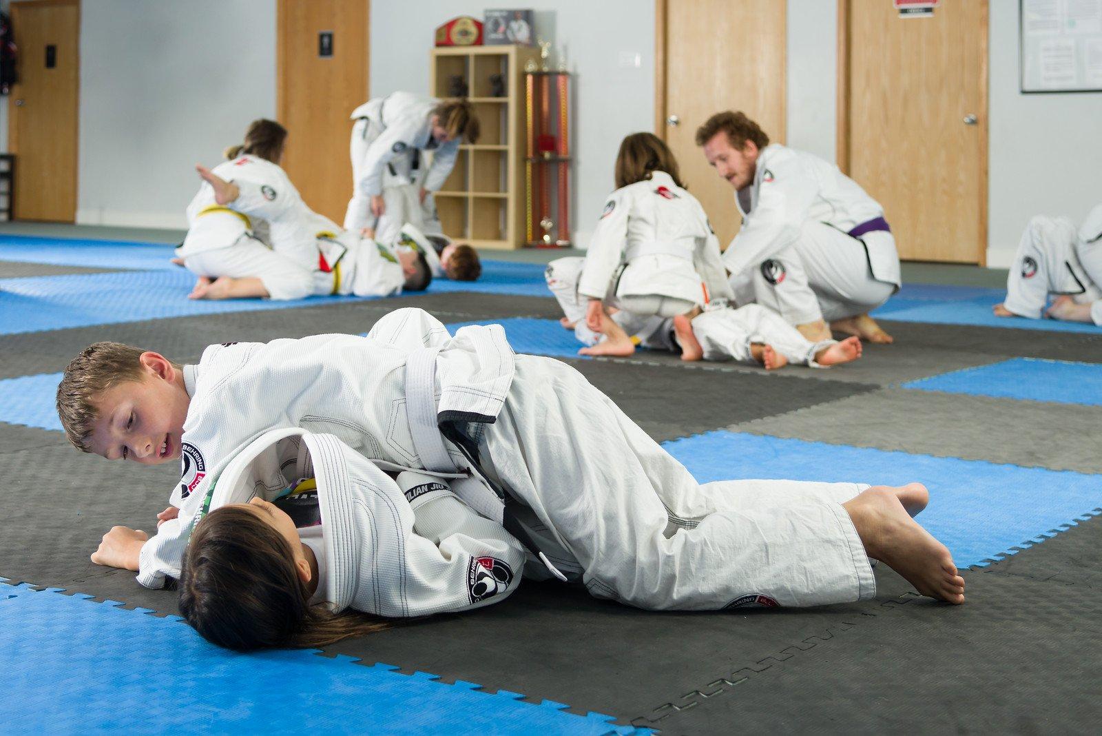 Kids practicing Jiu-Jitsu