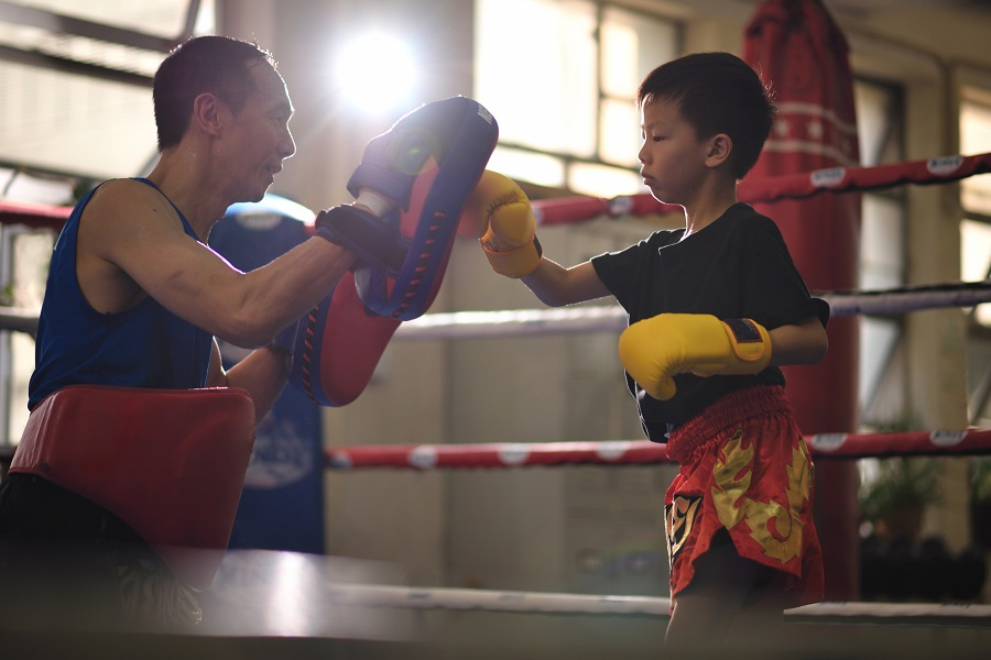 Child practicing Muay Thai