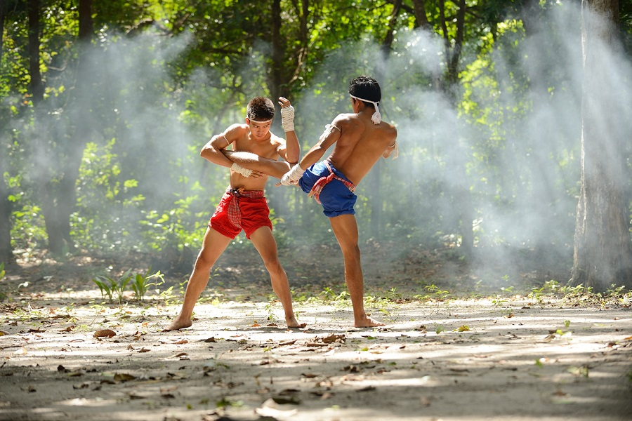 Muay thai fight boxing art and combat rope tied hand