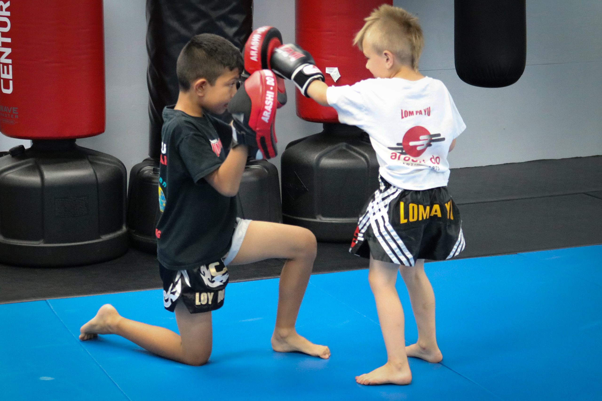 Two Kids Practicing Muay Thai